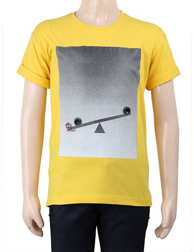 This yellow coloured T-shirt will enhance your look because of its great printed front!