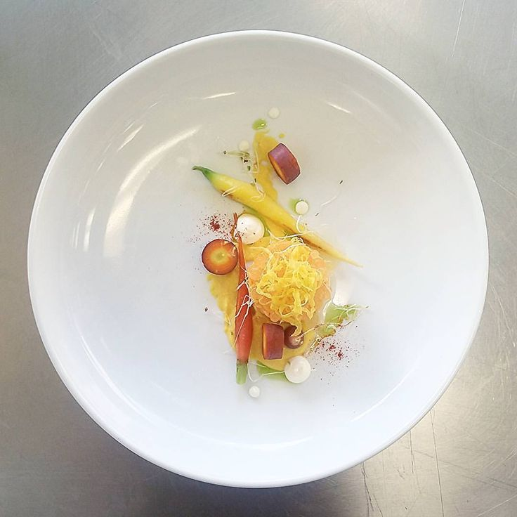 Carrot Tartare, Smoked Carrot Powder, Honey glazed carrot, apple caviar, confit carrot, Buttermilk gel, carrot top oil.