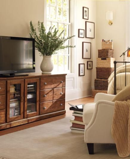 Pottery Barn Room Decorating Ideas, Country Lodge Family Room, Walls  Benjamin Moore Ancient Ivory