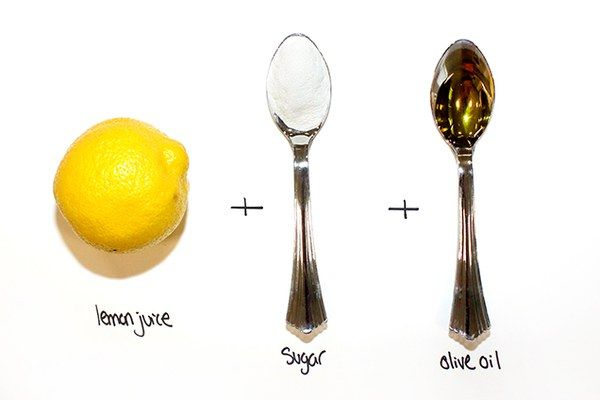 For Tired Skin Juice of 1 lemon 2 tablespoons sugar 1 tablespoon olive oil Dewy, refreshed, and calm. That's what we're going for here. The sugar and lemon work together to exfoliate dead skin cells, while the olive oil hydrates and restores your skin to a healthy, fresher, happier place.