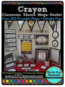 CRAYONS Classroom Theme EDITABLE Decor-34 Printable  Classroom Resources for less than .35 cents each. This is such a fun and colorful theme for a primary or elementary classroom as well as an art room.