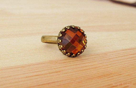 Citrine Yellow Mirror Glass Faceted Cabochon Ring  Antique