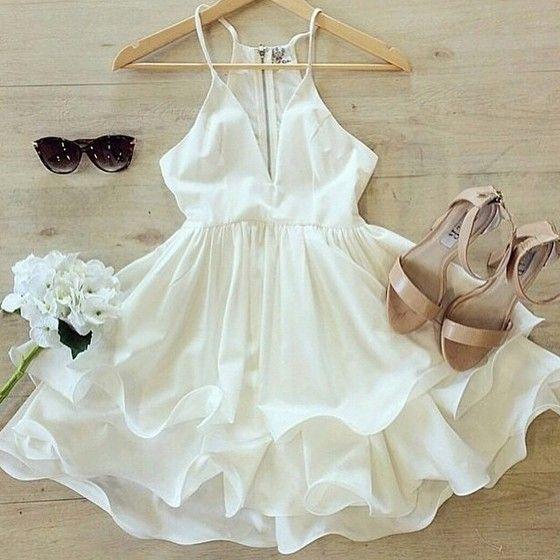 White Plain Ruffle Plunging Neckline Chiffon Dress - Mini Dresses - Dresses