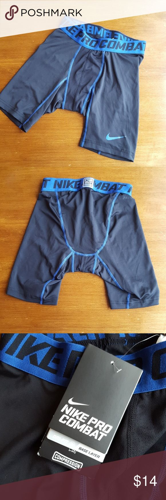 Nike Pro Combat compression shorts NWT Nike black with royal blue contrasting color compressions. Nike Underwear & Socks Boxer Briefs