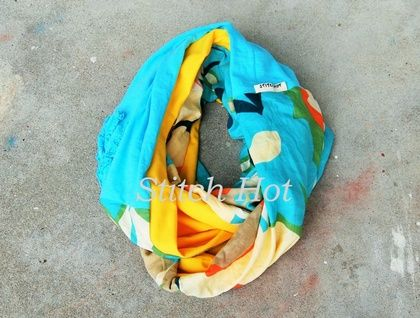 Repurposed Fabric Infinity Scarf - Turquoise and Yellow