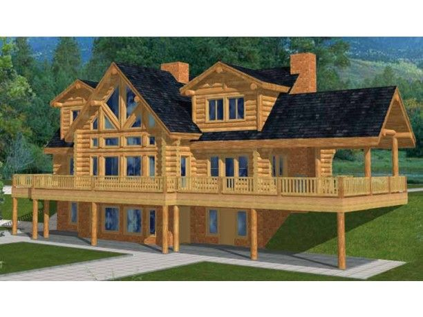 Two story house plan with walkout basement log house for Log homes with basement floor plans