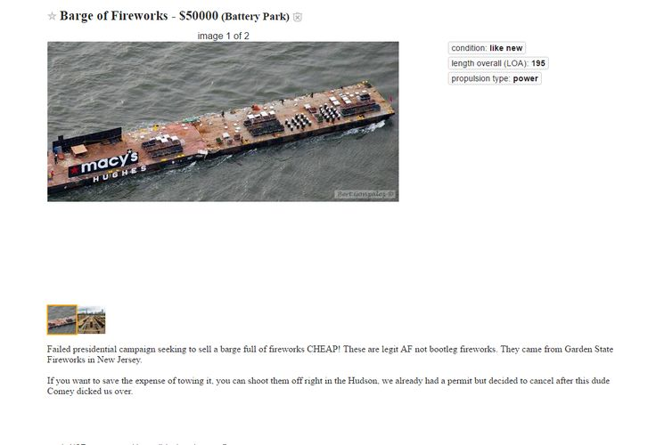 Barge Of Fireworks For Sale http://i.imgur.com/z0P3CWN.png