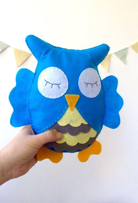 Owl Stuffed Toy, Owl nursery room, owl plush animal, Felt owl, Nursery room decor by LaPetiteMelina