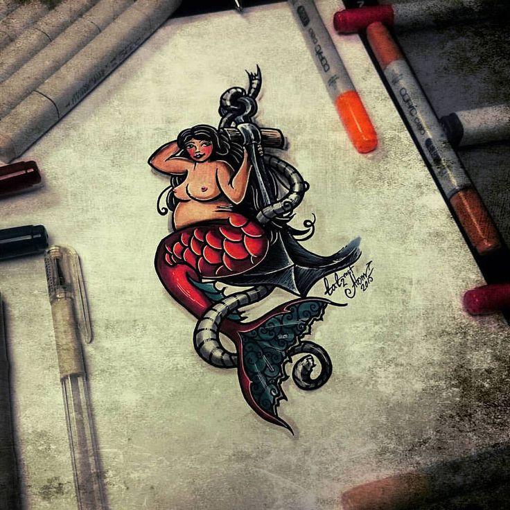 Тату эскиз - Русалочка(традиционный стиль тату, в новом формате). Эскиз нарисован за 3 часа лайнерами Faber-Castell и маркерами Copic,  тату мастером Вадимом в студии художественной татуировки и пирсинга EVOLUTION. www.evotattoo.ru. #tattoo #mermaid #tatt