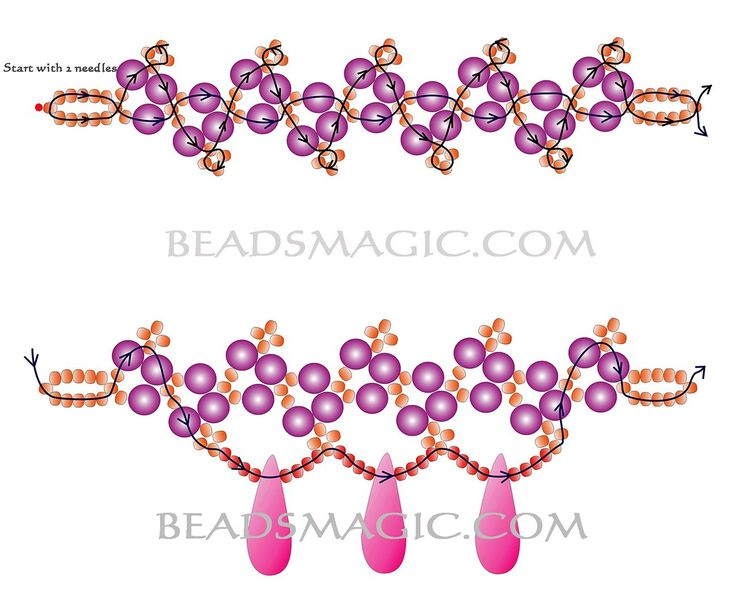 free-beading-tutorial-necklace-pattern-2 (Orange Fresh necklace:  10's, 3 or 4mm rounds, drops.)
