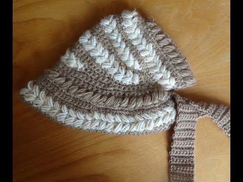 Шляпка-капор крючком. Часть 1. Cap-bonnet crocheted - YouTube