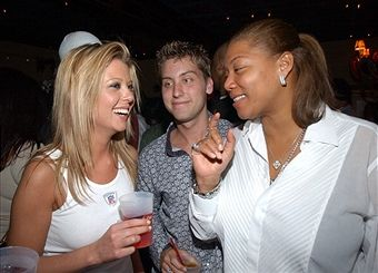 Tara Reid, Lance Bass and Queen Latifah during Super Bowl XXXVII - Hugh Hefner and Playboy Host Playboy's Fourth Annual Super Saturday Night - Party at The House of Hospitality in San Diego, California, United States.