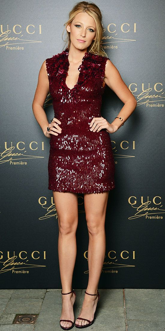 Blake Lively unveiled Gucci's Première fragrance in the label's embroidered cocktail dress, pink gold jewelry and python heels.