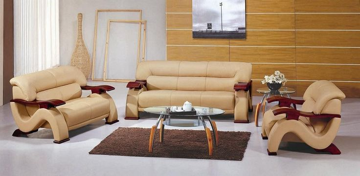 Vig Furniture - Contemporary Leather Sofa set in Beige Color - VGEV2033-2