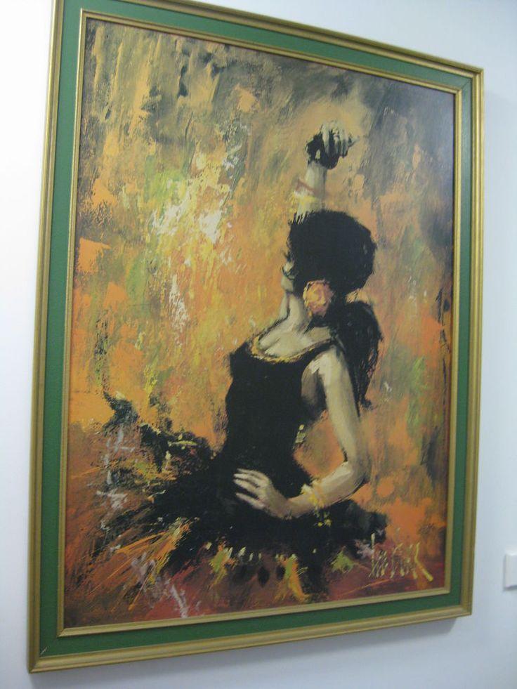 Large Retro print Dancing Woman Lady Dancer Spanish Black Dress Red Rose