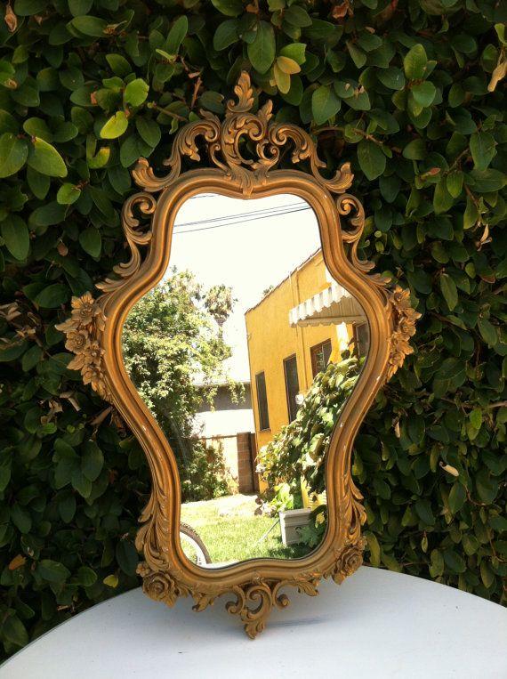 Vintage Mirror Gold Ornate Mirror Vintage Syroco Wood