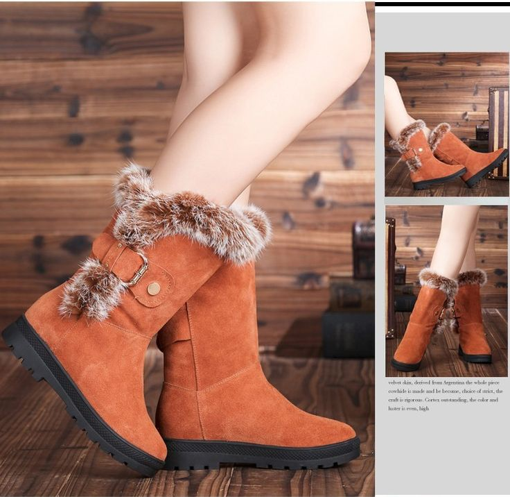 Leather Comfort Chunky Low Heel Mid-calf Snow Boots