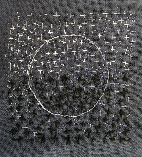 Inspired little stitched piece a la - Judy Martin cerchio su ripetizione geometrica - contrasto