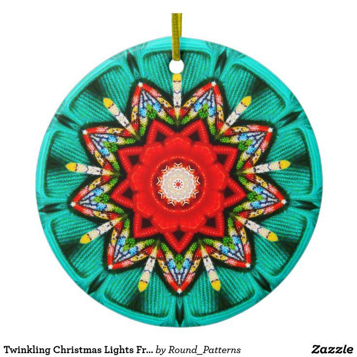 Twinkling Christmas Lights Fractal Ceramic Ornament