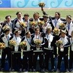 The Argentinian national football team celebrate with their gold medal of the 2004 Olympic Games
