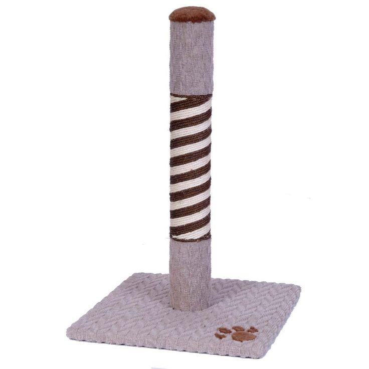 Pet Kitten Cat Scratching Post Spiral Pole Plush Grey Brown Colour Base Catnip