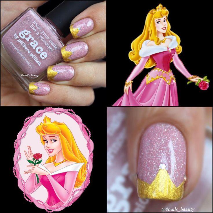 "Princess Aurora Nail Art Inspired by Disney's ""Sleeping Beauty """