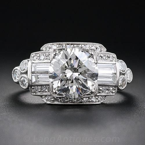 1.93 Carat Art Deco Style Diamond Ring – Vintage Diamond Engagement Rings – Vintage Engagement Rings