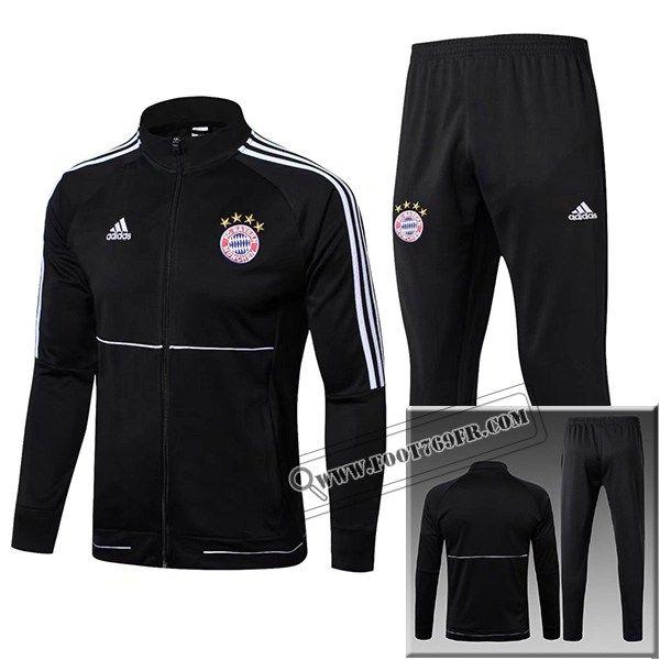 Thailandais Vintage Veste Survetement Bayern Munich Noir Col