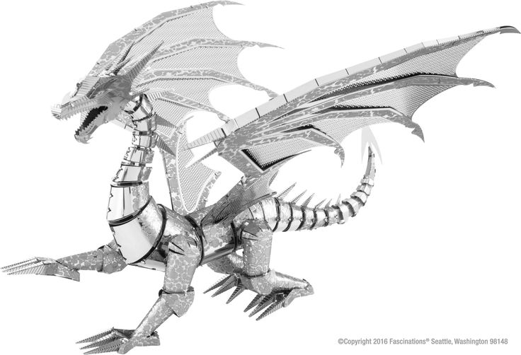 Metal Earth ICONX Silver Dragon 3D Model Kit
