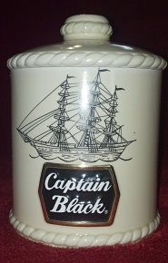 This is a vintage Captain Black ceramic tobacco humidor jar in excellent condition! It was manufactured as a special edition piece by Ceramarte in Brazil, ca. 1980's.