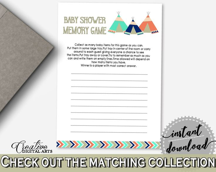 Memory Game Baby Shower Memory Game Tribal Teepee Baby Shower Memory Game  Baby Shower Tribal Teepee
