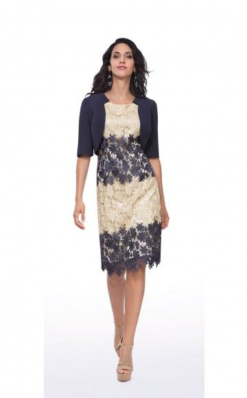Michaela Louisa 8481, Navy & Gold Lace Dress & Jacket. Ladies occasion dress  & Jacket at Blessings Occasion Wear Boutique, Brighton, East Sussex. BN1 5GG. Telephone: 01273 505766