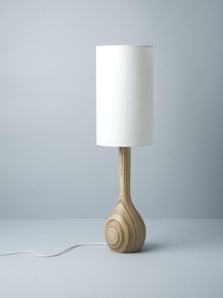 white hand turned table lamp / douglas + bec