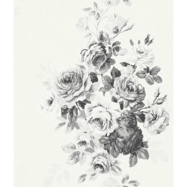Magnolia Home by Joanna Gaines 56 sq.ft. Tea Rose Wallpaper, Black/White on White