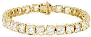 "Judith Ripka Sterl & 14KClad 6-3/4"" Princess Cut Diamonique Tennis Bracelet"