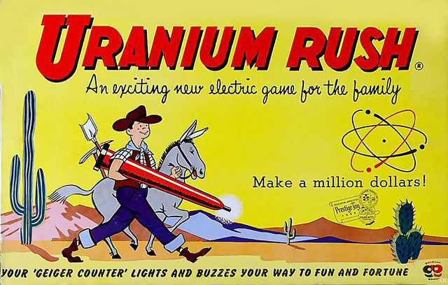 """""""Uranium Rush"""" ~ Your 'Geiger Counter' lights and buzzes your way to fun and fortune! ~ Nuclear Hazmat Suit and realist cumulative 'Rad Badge' included for glow in the dark family fun...no batteries needed - comes with it's own self-powered mini atom smasher! ~ 1955 board game for 'time limited' radioactive family fun! Parental supervision encouraged."""