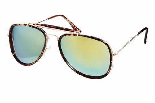 Occhiali da sole modello aviatore con barretta alta e lenti a specchio colorato; Asos