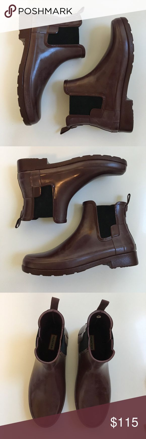"NWOT { Hunter } ankle boots Hunter ankle boots, side stretch for easy on/off, new without tags or box has mild ""clouding"" which is how these boots can be through storage just. Reds a olive oil rub. In excellent condition. Hunter Boots Shoes Ankle Boots & Booties"