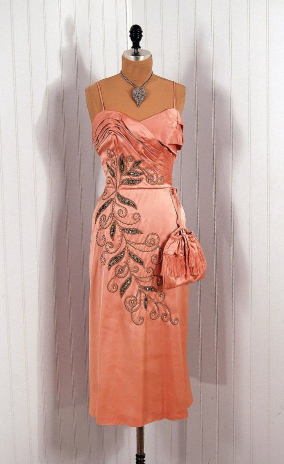 1950's Emma Domb Pink Beaded Satin Fishtail Dress with Matching Shawl and Purse...wow!