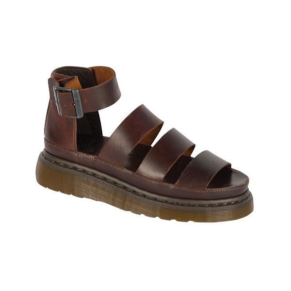 Women's Dr. Martens Clarissa Chunky Strap Sandal ($100) ❤ liked on Polyvore featuring shoes, sandals, brown, casual, casual shoes, brown flat sandals, flat leather sandals, adjustable strap sandals, dr martens sandals and leather sandals
