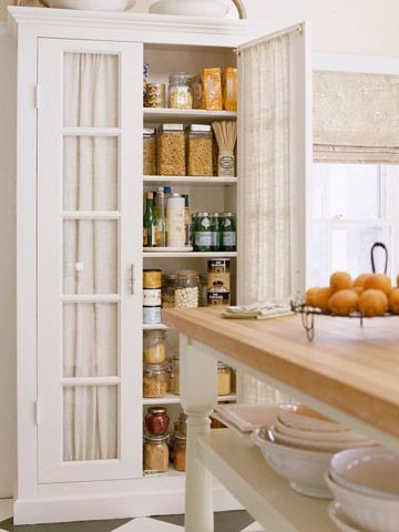 Freestanding Kitchen Cabinet/Pantry Tip from Peter Salerno, CMKBD, New Jersey If you don't have a walk-in pantry but have room for a tall cabinet, shop home stores for a piece of furniture that makes a statement without the custom-cabinet costs.