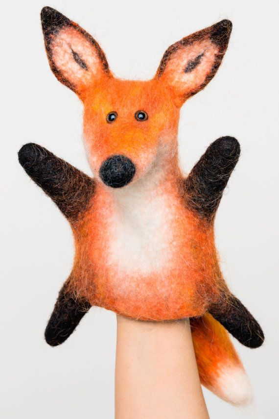 the furry fox hand puppet wet felted MADE TO ORDER by bibabo