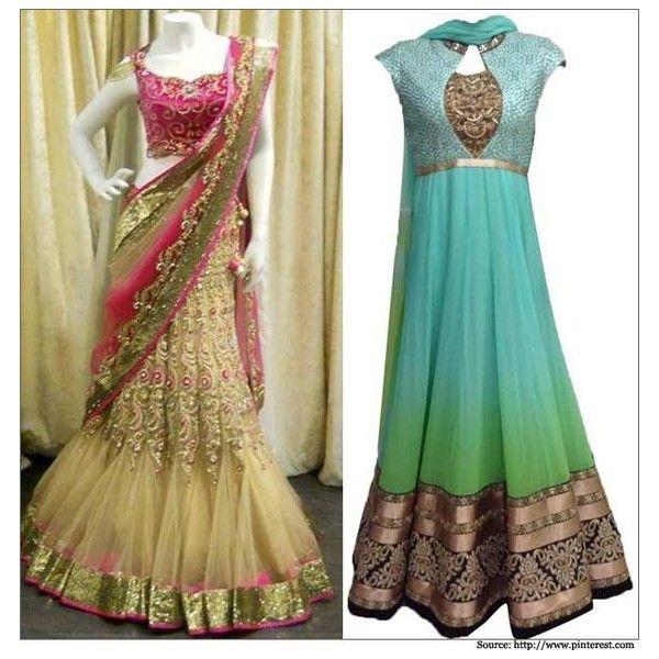 Indian Wedding Dress - Bridal Dresses, Lehenga & Sarees ❤ liked on Polyvore featuring dresses and wedding dresses