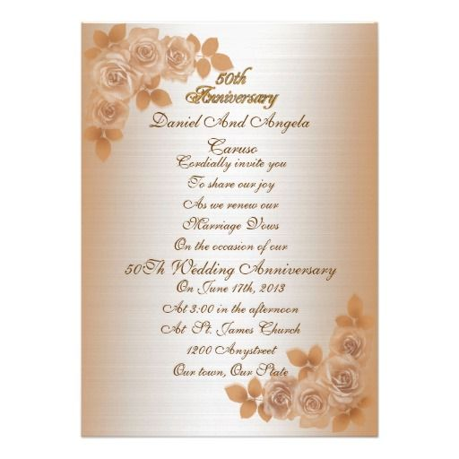 50th Anniversary Vow Renewal Invitation Roses
