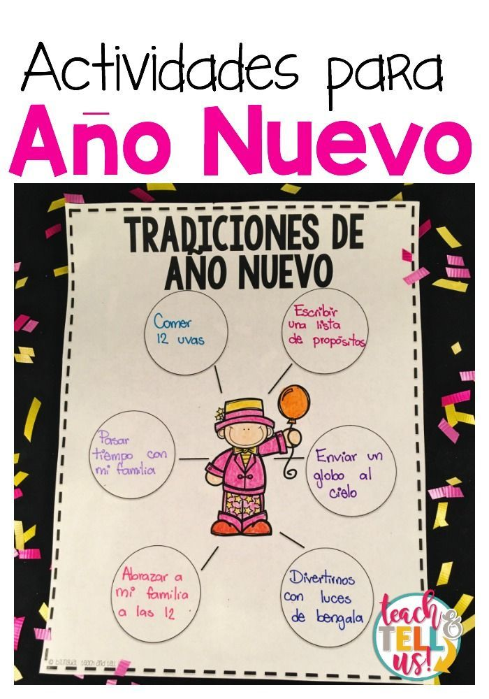 New Years activities for first and second grade in Spanish. Perfect for bilingual and dual language classrooms.