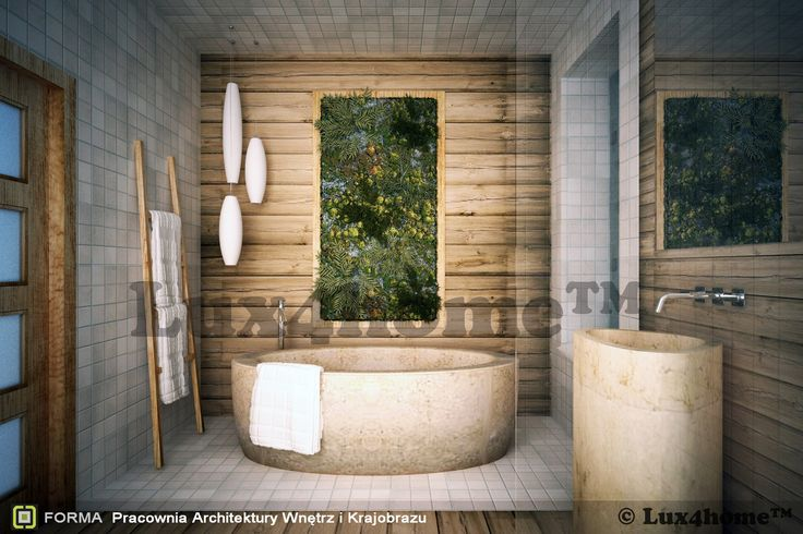 Projekt łazienki pracowni architektury wnętrz z Krakowa - FORMA. W łazience: - kamień na ściany - mozaiki 10x10 marble cream i 10x10 Bali Green - wanna z kamienia Aurea - wolnostojąca umywalka z kamienia Pedestal Tiga Sudut