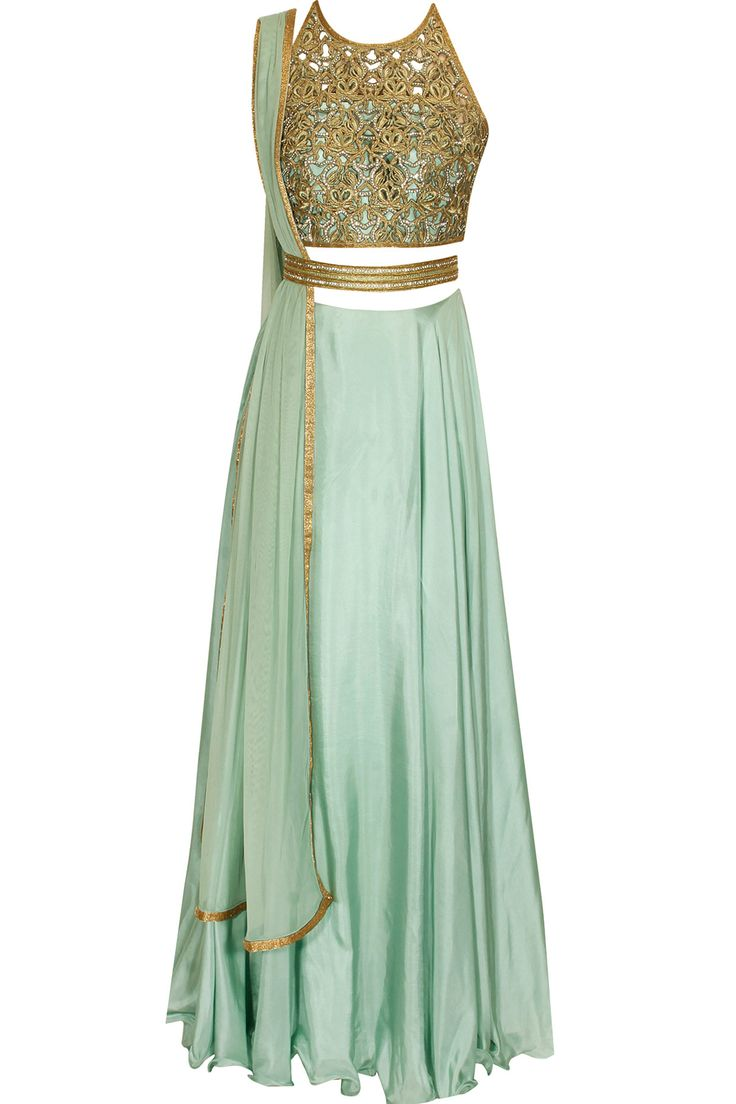 Jade green and gold bead embroidered lehenga.