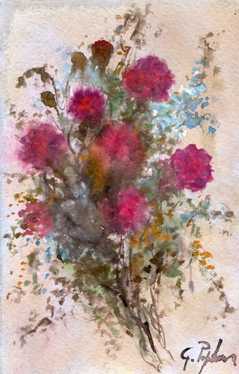 """Saatchi Online Artist: Giovanni Papandrea, Italy; Watercolor, Painting """""""" Fiori rossi """""""""""