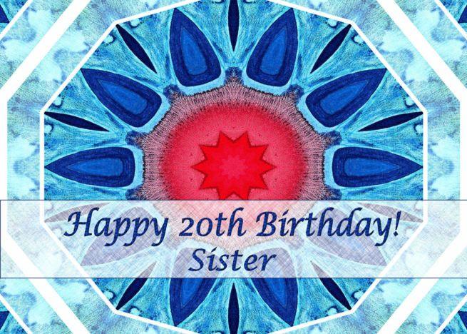 Happy 20th Birthday for Sister, Blue Aqua and Red Mandala