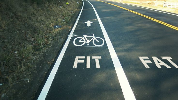 Fit lane / Fat lane - Guerilla marketing idea to promote the health benefits of riding #cycling #advertising #ride #health